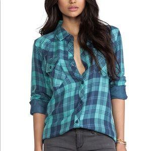 Rails Kendra Plaid Button Down shirt blue XS